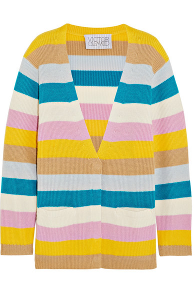 VICTOR GLEMAUD Striped Cashmere Cardigan in Yellow
