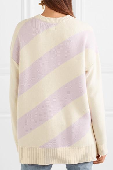 Victor Glemaud Gestreifter Oversized-Pullover aus einer Baumwoll-Kaschmirmischung