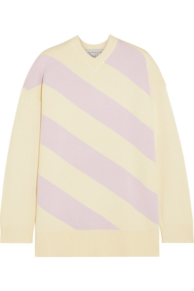 VICTOR GLEMAUD Oversized Striped Cotton And Cashmere-Blend Sweater in Cream