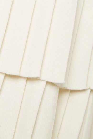 Victor Glemaud Minikleid aus einer Baumwollmischung mit Falten und Pointelle-Einsätzen