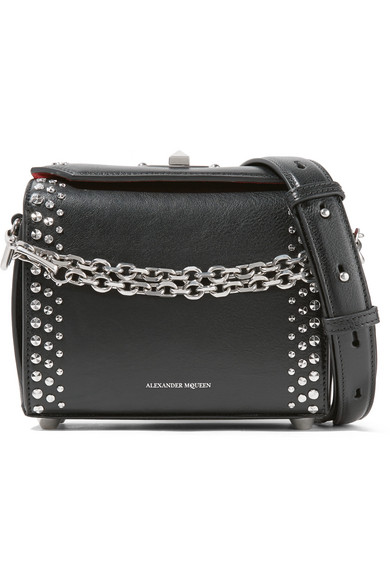 Alexander Mcqueen Box Bag 19 Studded Leather Shoulder Net A Porter Com