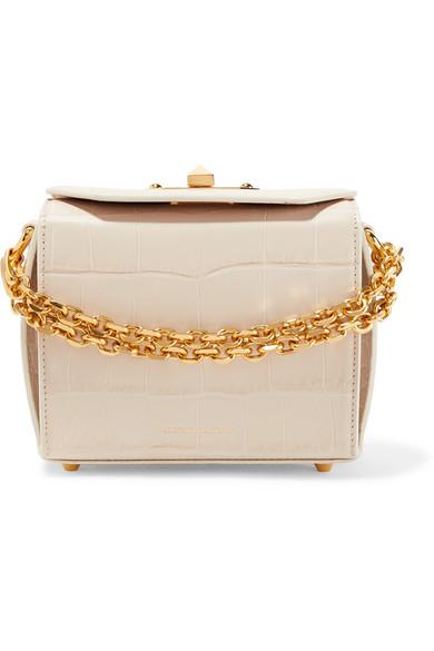 Alexander McQueen Box Bag 16 Schultertasche aus Leder mit Krokodileffekt