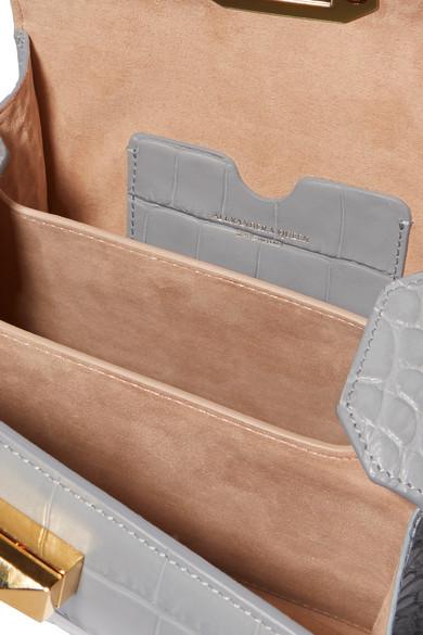 Alexander McQueen Box Bag 19 Schultertasche aus Leder mit Krokodileffekt