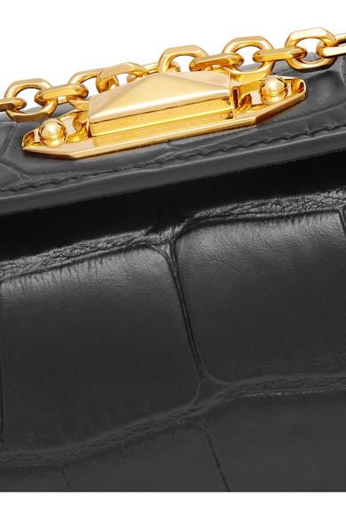 Alexander McQueen Box Bag nano Schultertasche aus Leder mit Krokodileffekt