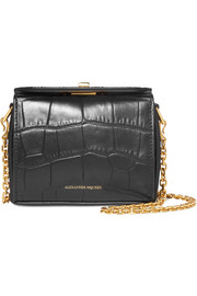 Alexander McQueen Box Bag nano croc-effect leather shoulder bag