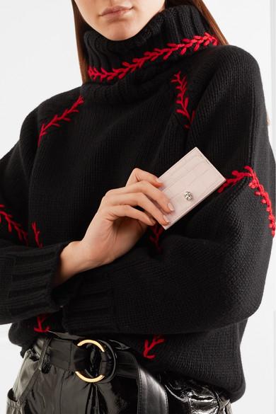 Alexander McQueen Kartenetui aus Leder mit Krokodileffekt
