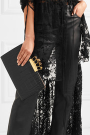 Alexander McQueen Crystal-embellished croc-effect leather clutch