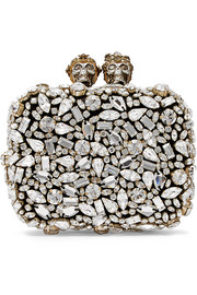 Swarovski crystal-embellished leather clutch