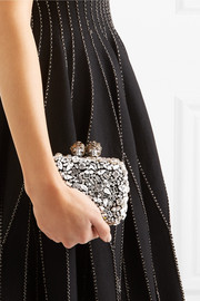 Alexander McQueen Swarovski crystal-embellished leather clutch