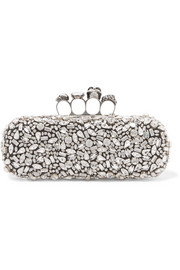 Alexander McQueen King & Queen Knuckle Swarovski crystal-embellished satin clutch