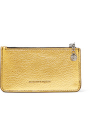 Alexander McQueen Metallic textured-leather cardholder
