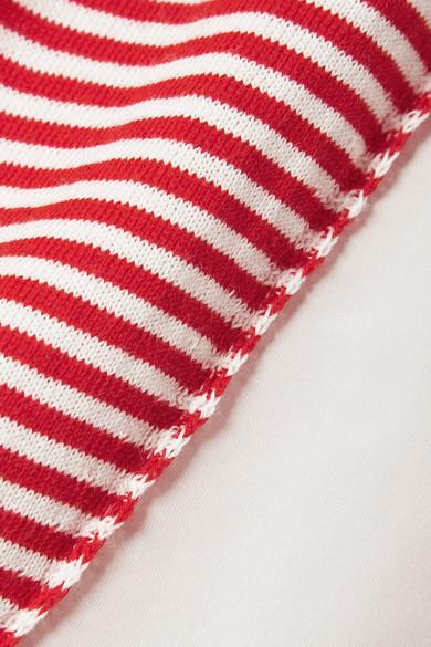 Moncler Twist Oberteil gestreifter Baumwolle und glänzendem Shell