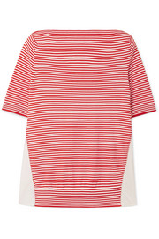 Moncler Twist striped cotton and satin-shell top