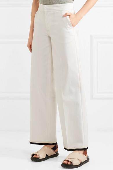 Moncler Hose mit weitem Bein aus Gabardine aus einer Baumwollmischung mit Ripsbandbesatz