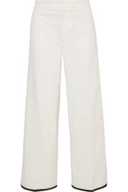 Moncler Grosgrain-trimmed cotton-blend gabardine wide-leg pants