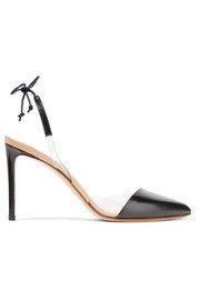 PVC-trimmed leather slingback pumps