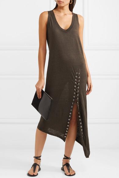 IRO Karossi asymmetrisches Kleid aus Leinen mit Flammgarneffekt und Schnürung