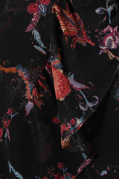 IRO Loxie bedrucktes Minikleid aus Georgette mit Wickeleffekt und Rüschen