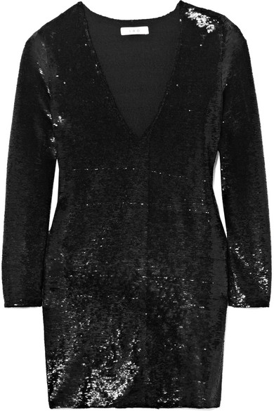 Nobila Sequined Stretch-crepe Mini Dress - Black Iro 2z0TEc