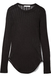 IRO Skogik metallic pointelle-knit top