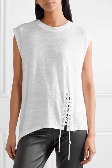 IRO Karami asymmetrisches T-Shirt aus Leinen mit Flammgarneffekt und Schnürdetail