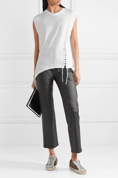 Iro Karami Asymmetric T-shirt From Linen With Lace-up Detail And Flammgarneffekt