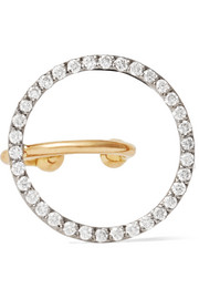 Celeste 18-karat white and yellow gold diamond ear cuff