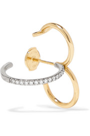 Clover 18-karat yellow and white gold diamond earring