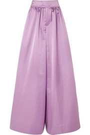 Kent duchesse-satin wide-leg pants