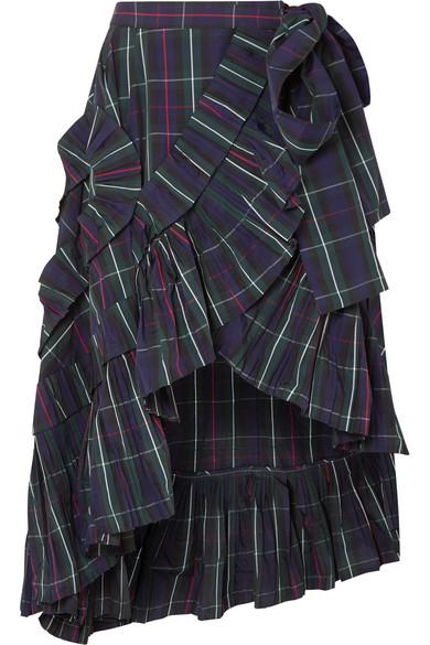J.Crew - Ruffled Plaid Shell Wrap Skirt - Navy