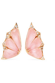 Fly By Night 18-karat rose gold, opal and diamond earrings