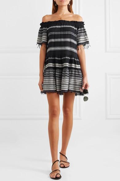 Mini-robe Élégante En Gaze À Rayures Sans Bretelles En Mélange De Coton