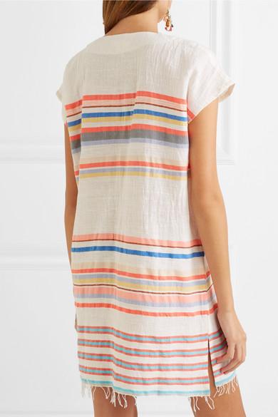LemLem Yodit Minikleid aus Gaze aus einer Baumwollmischung mit Streifen