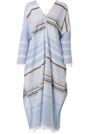 LemLem Kal fringed striped cotton-blend gauze kaftan