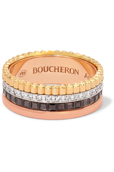 Quatre Classique Large 18-karat Yellow, Rose And White Gold Ring - 53 Boucheron