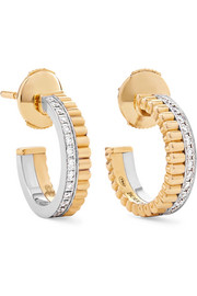 Quatre Radiant Edition 18-karat yellow and white gold diamond hoop earrings