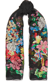 Embroidered silk-blend georgette scarf