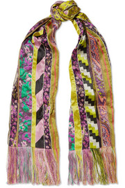 Fringed paneled satin-jacquard scarf