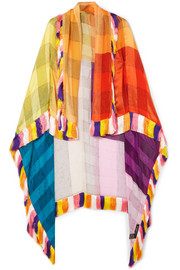 Fringed silk-jacquard wrap