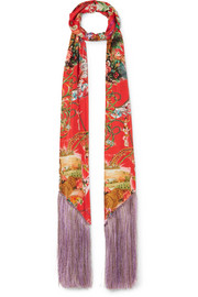 Etro Fringed printed silk-satin scarf
