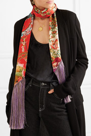 Fringed printed silk-satin scarf