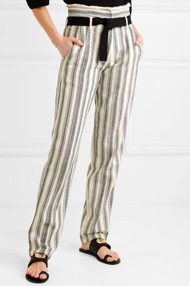 Vanessa Bruno Iwen gestreifte Hose mit geradem Bein aus Baumwoll-Canvas mit Gürtel
