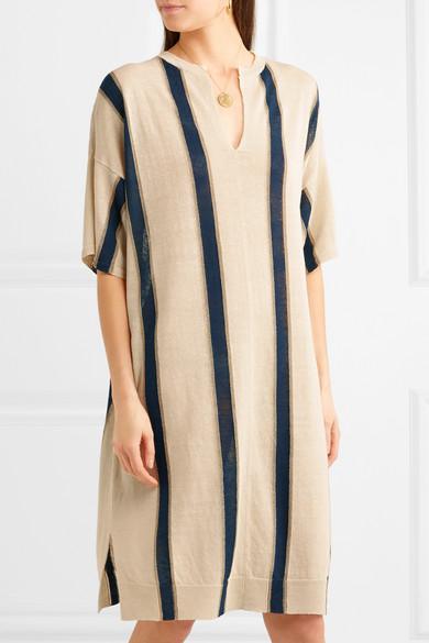Vanessa Bruno Imeo gestreiftes Kleid aus einer Leinenmischung