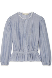 Vanessa Bruno Ikola lace-trimmed striped cotton and Tencel-blend blouse