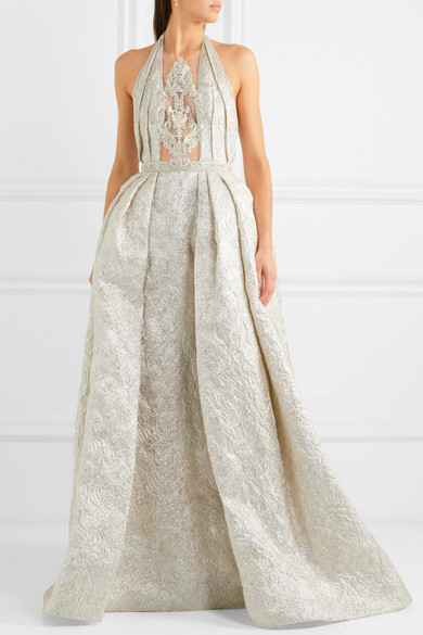 Embellished Tulle-paneled Linen-blend Brocade Halterneck Gown - Silver Reem Acra CmjWjQz53S
