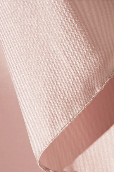 Reem Acra Robe aus einer Seiden-Wollmischung mit verziertem Tüllbesatz
