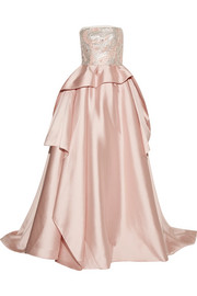 Reem Acra Embellished tulle-trimmed silk and wool-blend gown