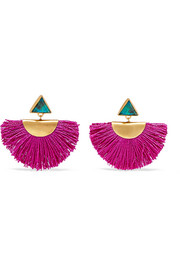 Fringed gold vermeil chrysocolla earrings