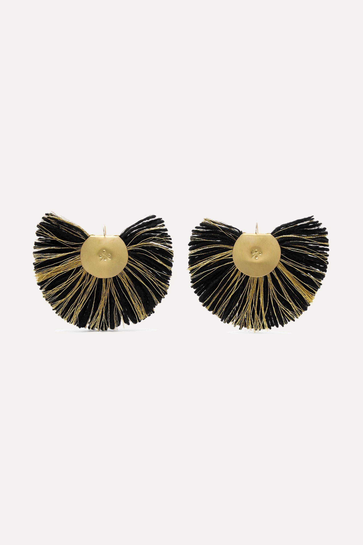 Katerina Makriyianni Boucles d'oreilles en métal doré à franges Fan