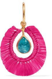 Fringed gold vermeil apatite earring